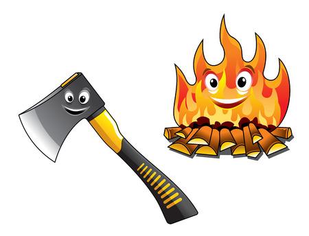 Cartoon bijl of hakmes voor het hakken van het hout en een aparte brandend vuur met gelukkig lachende gezichten voor reizen en toerisme ontwerp