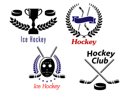 Ice hockey symbols and emblems with ribbons, wreath and sporting elements Vector