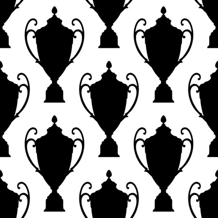 handles: Elegant black silhouette trophy cup with ornate handles and a lid seamless background pattern
