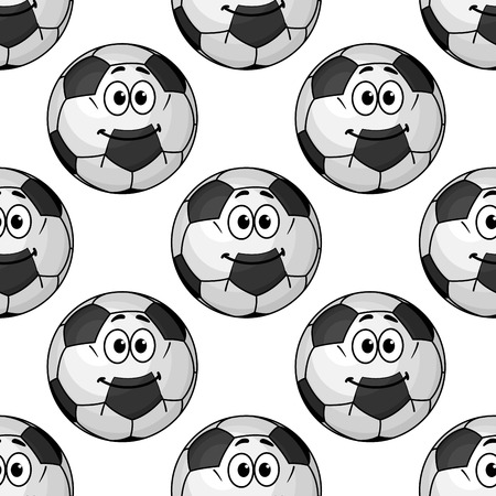Seamless pattern of cartoon soccer balls or footballs with cute little smiling faces in square format for wallpaper and sports design Vector