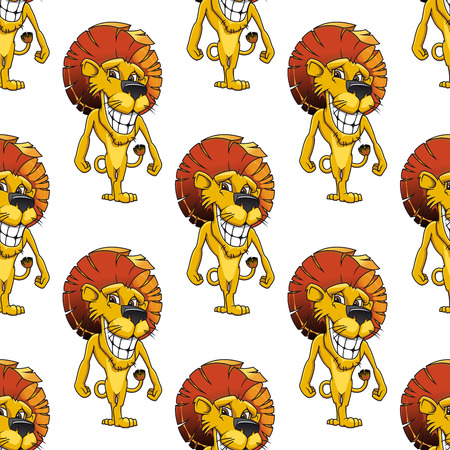 upright format: Lion with a cheesy toothy grin standing upright seamless background pattern in square format