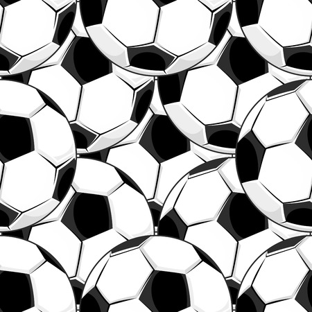 Seamless background pattern of densely packed black and white footballs or soccer balls