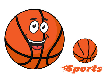 professional sport: Basketball ball with a happy smiling face and flaming Sports text with trailing flames for sports design