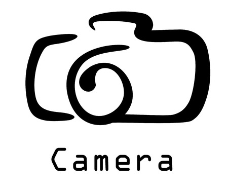 focus on shadow: Stylized black and white doodle sketch of a digital camera isolated on white