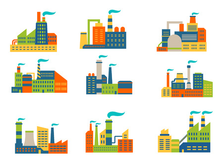 Factories and plants set in flat retro style isolated on white background Vector