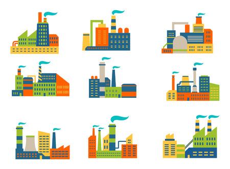 industria quimica: Las fábricas y plantas establecidas en estilo retro plana aislados en fondo blanco