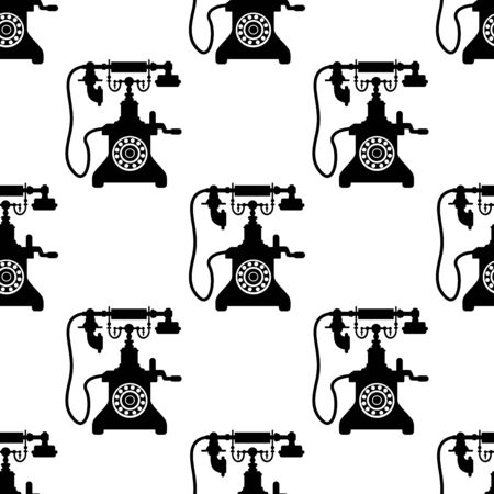 call history: Vintage telephone seamless pattern with black and white vector silhouettes in a repeat motif in square format Illustration