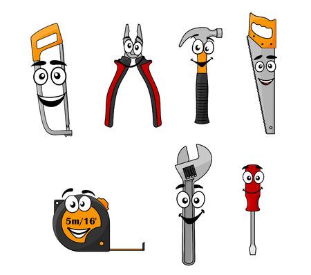 Serie di cartoni animati utensili a mano fai da te con felici volti sorridenti, tra cui una sega, pinze, martello, seghetto, nastro, chiave inglese e cacciavite