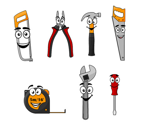 mending: Set of cartoon DIY hand tools with happy smiling faces including a saw, pliers, hammer, hacksaw, tape, spanner and screw driver
