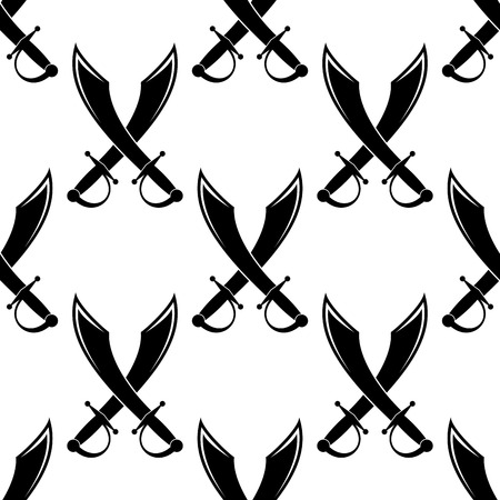 Crossed swords or cutlass seamless pattern in a black and white silhouette in square format