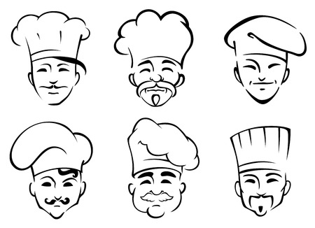 Six black and white doodle sketch heads of chefs wearing traditional toques in cartoon style Vector