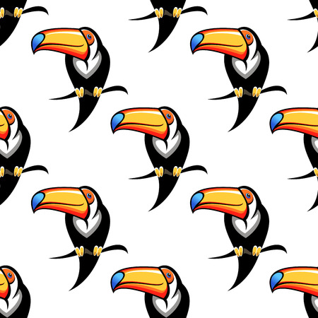 tucan: Seamless background pattern of a toucan with a big colorful bill perched on a branch, repeat motif in square format