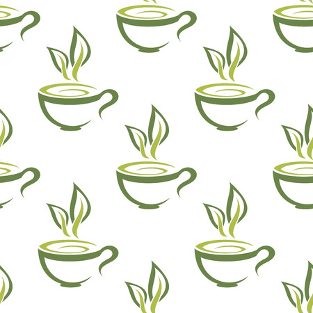steam of a leaf: Green organic cups of steaming herbal tea seamless background pattern for a healthy hot beverage in square format