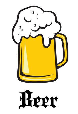 tankard: Beer tankard label or emblem with an overflowing frothy tankard of golden lager and the word - Beer - underneath Illustration