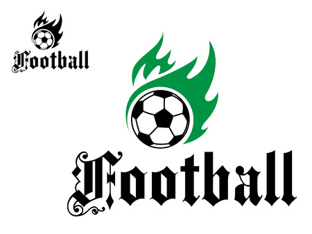 professional sport: Football or soccer emblem with green flames and black word for sports design Illustration