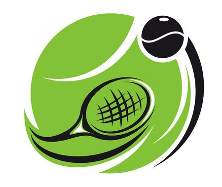 tennis racquet: Icono del tenis estilizado con una pelota de tenis verde superpuesta con una raqueta de curvado y una bola con estelas de movimiento, aislado en blanco