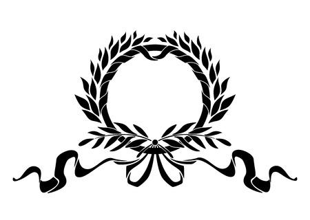Nero corona araldico con foglie di alloro e nastri elementi