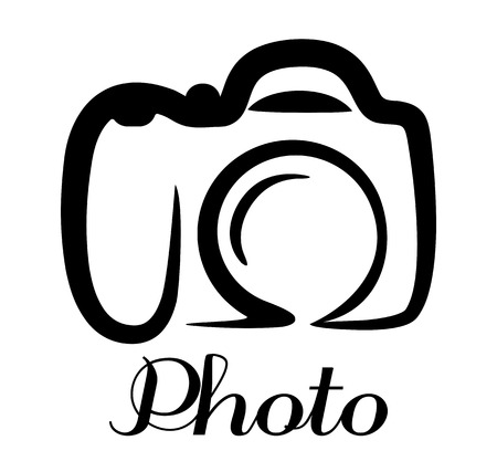 een zwart-wit gestileerde doodle schets van een digitale camera met het woord Photo Stock Illustratie