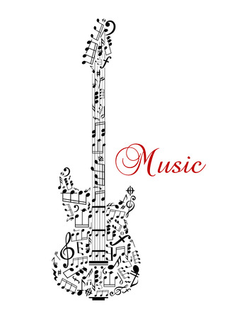 Guitar silhouette with musical notes and word Music Isolated on white background Иллюстрация