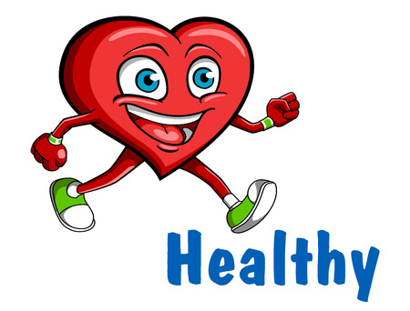 Running heart character Vector