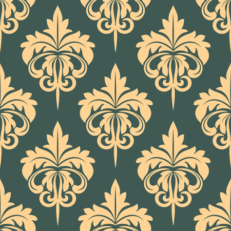 walpaper: Damask seamless pattern in beige and grey colors fow walpaper or fabric design