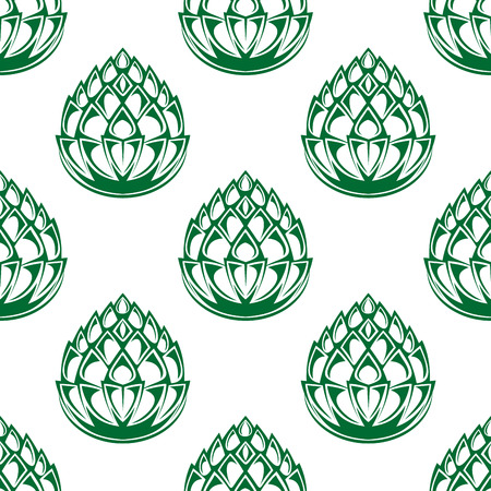 hop plant: Hop blossoms seamless pattern