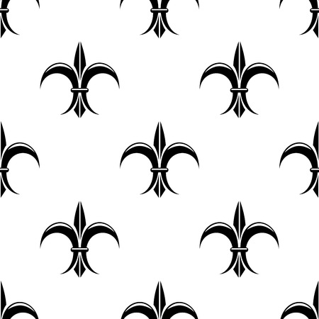 lys: Retro seamless pattern with french fleur de lys flowers for vintage or heraldic design
