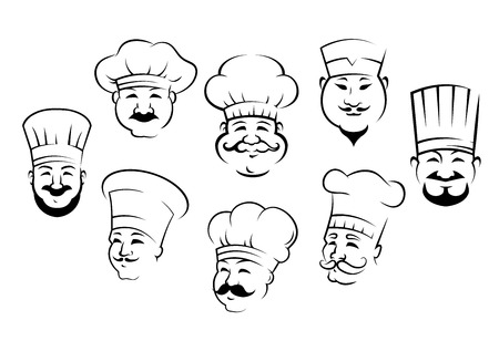 Set of black and white doodle sketch outline smiling chefs or cooks heads wearing their traditional toques Vector