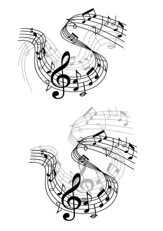 scores: Two different black and white musical waves or compositions with swirling clef, notes and scores in a music and audio concept
