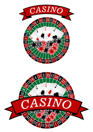 vegas sign: Casino roulette symbol with gambling chips and cards Illustration