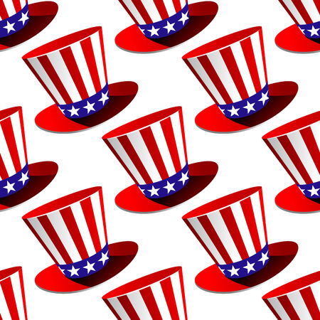 Patriotic American top hat seamless pattern with a colorful top hat decorated with the stars and stripes in square format suitable for wallpaper, tiles or fabric Vector