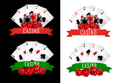 Casino symbols with decorative ribbons, gambling cards, chips and dice on black or white background Vector