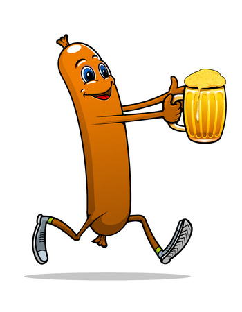 drunk party: Running sausage or frankfurter with cool beer in cartoon style