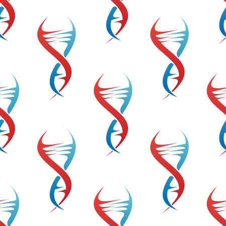 Stylized colorful blue and red DNA spiral helix seamless background pattern conceptual of medicine and genetics in square format Vector