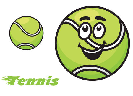 Tennis icon or emblem with a cheerful green tennis ball with a happy smile and the text - Tennis - with motion trails Illustration