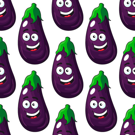 unpeeled: Smiling happy fresh purple eggplant or aubergine with a colorful green stalk seamless background pattern in cartoon style