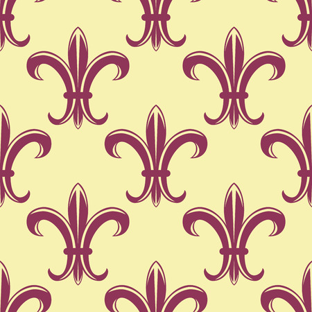 Fleur de lys seamless pattern with yellow background and purple flowers for wallpaper and heraldic design