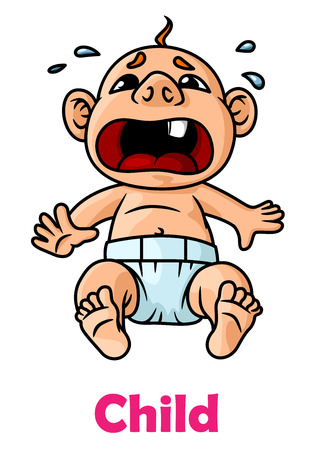 Crying little boy in cartoon style isolated on white background Vector