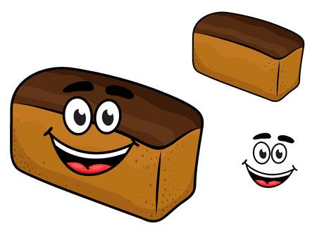 produits céréaliers: Fraîchement balles souriant miche de pain brun avec un fac heureux, bande dessinée illustration isolé sur blanc