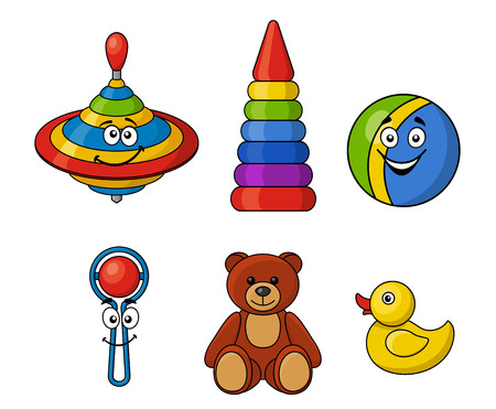 spinning top: Set of brightly colored kids toys with a spinning top, ball, rattle, teddy bear, ring tower, and yellow duck isolated on white background Illustration