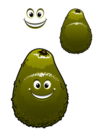 Happy little green cartoon avocado fruit with a beaming smile and dimples, isolated on white Illustration