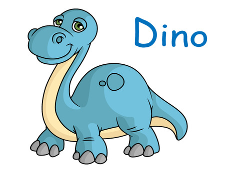 Funny blue dino reptile in cartoon style isolated on white background Vector
