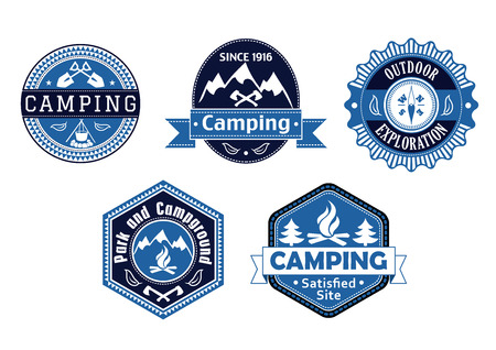 Camping emblems and labels with different blue frame shapes with the text Vector