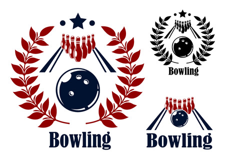 bowling alley: Bowling emblems and symbols set with a bowling ball and alley with the pins in the background in three variants with and without circular laurel wreaths