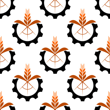 mechanization: Wheat stalk with a gear wheel icon seamless pattern for conceptual design of industry and mechanization in agriculture