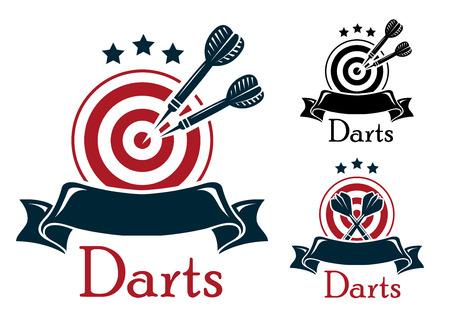 Darten embleem met gekruiste een dartbord en darts op een lege lint banner met sterren boven in drie kleurvarianten met tekst Stock Illustratie