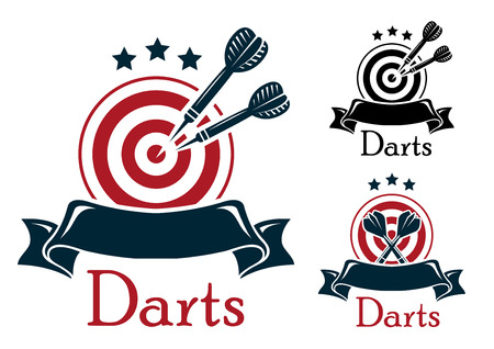 Darts emblem with crossed a dart board and darts over a blank ribbon banner with stars above in three color variants with text Ilustração