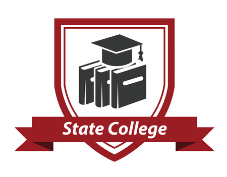 college: State College emblem with books and a mortarboard hat enclosed in a shield over a ribbon banner with the words State College Illustration