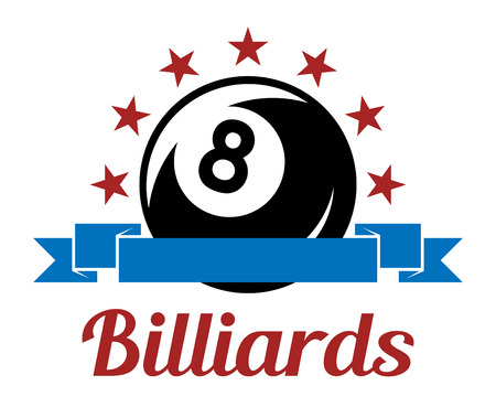 8 ball pool: Billiard sport symbol with ball, ribbons, stars and text for leisure sports design