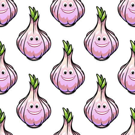 Healthy fresh bulb of garlic with a happy smile and colorful green sprout at the top in a seamless background pattern in square format Stock Vector - 29758432